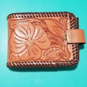 Vintage Hand Tooled Floral Leather Wallet